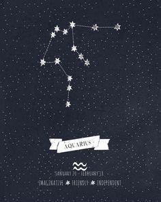 Aquarius Constellation Astrology Art Art Print