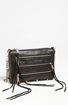 Rebecca Minkoff '5 Zip - Mini' Crossbody Bag in black