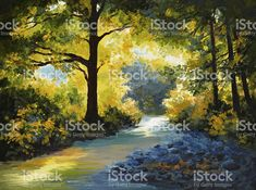 Oil Painting - summer forest, meadow with violets royalty-free stock vector art
