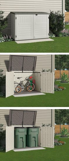 This small storage shed is just the right size to store your bicycles safely or to hide garbage cans. It won't take up a lot of room from your backyard or side yard or spoil the look of your home. #shedplans #garage