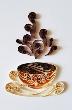 Quilled Art Coffee Cup Paper Art Coffee Wall Decor Coffee Mug Coffee Sign Coffee Art Coffee Lovers Birthday gift Quilling Art Paper Quilling Cards, Arte Quilling, Paper Quilling Patterns, Quilled Paper Art, Quilling Work, Quilling Craft, Quilling Ideas, Quilling Flowers Tutorial, Quilling Birthday Cards