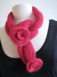 Short scarf knitted scarflette strawberry red mohair by SixSkeins,