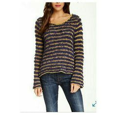 Free people downy stripe pullover sweater - Scoop neck - Long bell sleeves - Striped knit construction - 91% cotton, 9% other fibers Free People Sweaters