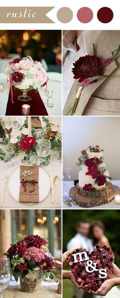 chic rustic burgundy wedding color ideas for 2017