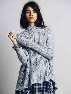 Soft knit pullover paired with a flannel underneath is the epitome of fall fashion. Short Hairstyles For Thick Hair, Ladder Stitch, Sweater Outfits, Cute Shirts, Sweater Weather, Autumn Winter Fashion, Knitwear, What To Wear, Cool Outfits