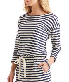 Stripe 3/4-Sleeve Drawstring Terry Dress