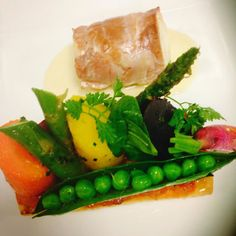 Tournedos de lieu jaune, tarte fine aux légumes du printemps. #parisianrestaurant #fish #strasbourgeoise #paris #frenchgastronomy