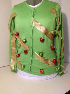 Ugly Christmas Sweater L Real Ornaments And Ribbon 3D Sweater Party WINNER #AugustSilk #Cardigan