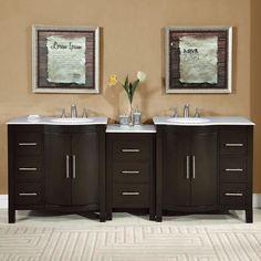 """Silkroad 89"""" Modern Double Sink Bathroom Vanity"""