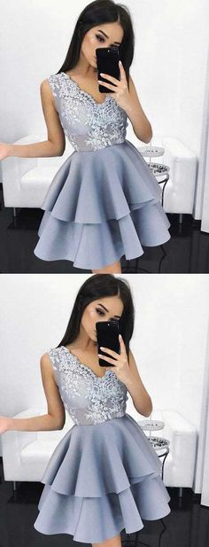 sliver prom dress short ,short homecoming dresses,gray homecoming dress,homecoming,ruffled,v neck