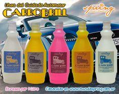 Línea Carrobrill para el cuidado del Automotor: Shampoo, Revividor de Neumáticos, Silicona para Cueros Interiores, Despega Bichos y Limpia Tapizados y Alfombras. Productos en envase de 1 litro.