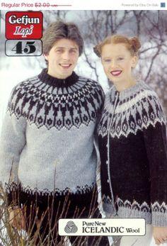 PDF  - Lopi Nordic Sweater & cardigan  32-46ins Adult Unisex Vintage Knitting Patterns