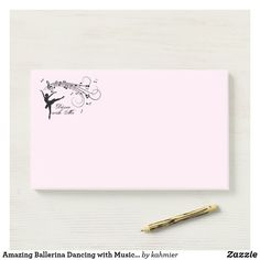 Amazing Ballerina Dancing with Music Pink Post-it Notes