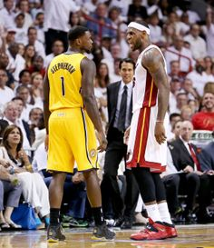 Miami Heat forward LeBron James (6) yells at Indiana Pacers guard Lance Stephenson (1) after causing a turnover during the Eastern Conference NBA Finals at AmericanAirlines Arena in Miami on May 24, 2014. (Richard Graulich\The Palm Beach Post)