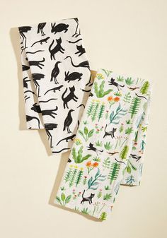 Critters Meet Cultivation Tea Towel Set - Multi, Floral, Print with Animals, Other Print, Daytime Party, Quirky, Critters, Bird, Green, Multi, Party, Cats, Woodland Creature, Gals, Under $20, Hostess