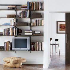 Driftwood & Platinum elfa Living Room Shelving