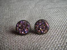 Earrings - Rose Gold or Multi Druzy in Stud Setting by ModMomof2Boys on Etsy