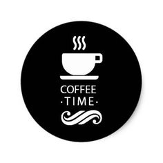 #modern - #Black And White Coffee Time Classic Round Sticker