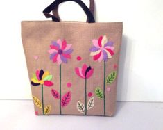 Floral jute tote bag, applique bold flowers, unconventional shoppers bag, embroidered, beach tote bag, handmade tote bag, Casual Tote Bag