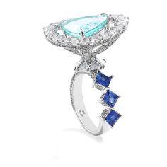 Coomi Jewels Paraiba Tourmaline, Blue Sapphire and Diamond Ring