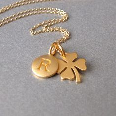 Gold Initial & Lucky Four Leaf Clover by tangerinejewelryshop, $49.00