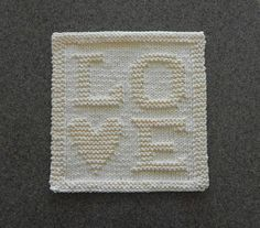 LOVE Letters Hand Knitted Dishcloth, Cotton Ivory / Cream, Unique Design Handmade Wash Cloth, S Baby Shower Hostess Gifts, Bridal Shower Gifts, Knit Dishcloth, Love Letters, Valentine Day Gifts, Valentines, Hand Knitting, Knitting Patterns, Washing Clothes