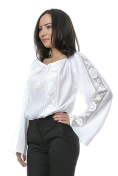 Ie alba din bumbac cu insertie din dantela - Ama Fashion Bell Sleeves, Bell Sleeve Top, Blouse, Long Sleeve, Tops, Women, Fashion, Moda, Full Sleeves