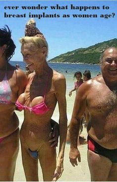 Ever wonder what happens to breast implants as women age? Hahaha