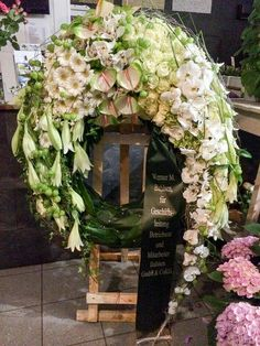 Funeral Floral Arrangements, Flower Arrangements, Funeral Flowers, Wedding Flowers, White Flowers, Beautiful Flowers, Funeral Sprays, Corona Floral, Grave Decorations