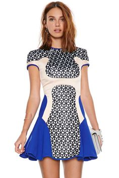 Alice McCall Angel on Wheels Dress. Love the Neon Blue accents and print. Flirty and fun for date night or Girls Night out♡
