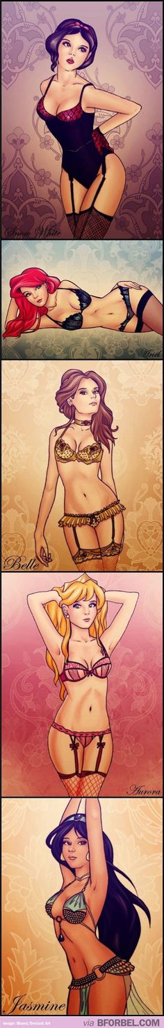 Disney Princesses as lingerie models… They Look Like Victoria's Secret Angels.
