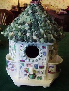 Mosaic Birdhouse Stone Roof Demitasse Cups Vintage by MosaicSeas