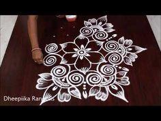 Simple n cute flower Kolam with 7 dots || Creative rangolis || Latest arts designs by Dheepiika - YouTube