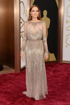Angelina Jolie at the 2014 Oscars -  Metallic dresses trend