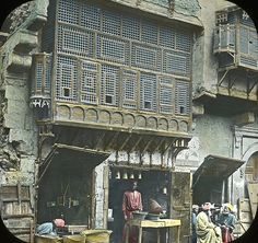: Views, Objects: Egypt. General Views\People [selected images]. View 078: Egypt - Arabic Window and Native Bazaar, Cairo., n.d., T. H. McAllister, Manufacturing Optician. 49 Nassau Street. Brooklyn Museum Archives (S10|08 General Views_People, image 9821). Hand colored lantern slides from 1900.