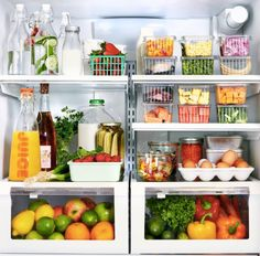 le drinks should be kept towards the bottom and in the back where the fridge is the coldest. Soft cheeses and butter can be kept in the door though because they don't necessarily have to be kept very cold. Eggs should be kept where the temperature is the most consistent—the middle shelf of your fridge. Deli meats? Keep them in their designated shallow meat bin.