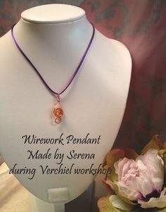 Wirework Citrine Pendant made by Serena, during Verchiel Beads and jewellery workshop. www.verchieljewellery.co.uk