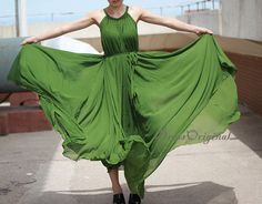Grass green Maxi dress summer dress Custom dress plus size dress tunic dress green chiffon dressgraduation dress evening dress (53.90 USD) by DressOriginal