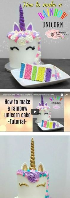 How to make a rainbow unicorn cake Easy video tutorial on how to make a rainbow unicorn cake by Behind the Cake via Behind The Cake How To Make A Unicorn Cake, Easy Unicorn Cake, Unicorn Cake Pops, Rainbow Unicorn Party, Cake Rainbow, Unicorne Cake, Diy Cake, Cake Smash, Cake Art