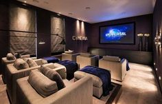 At Home Movie Theater, Home Theater Rooms, Home Theater Design, Theatre, Black Dining Table Set, Flat Design Poster, Basement Movie Room, Hall Design, Home Cinemas