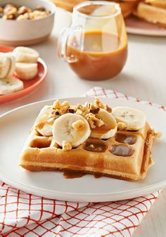 Banana Waffles with Caramel-Nut Sauce – We thought these banana waffles were so tasty, they didn't need syrup. Then we tried them with this caramel-nut sauce—and they were even more delicious.
