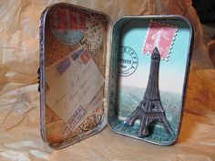 Turn your old tin mint container into this cute Paris DIY craft!!!! I'm totally trying this!