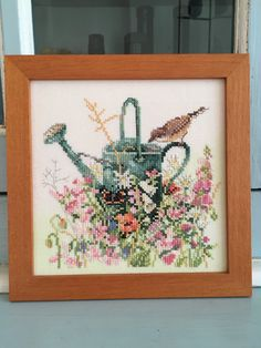 Framed Embroidery Marjolein Bastin Garden Birds Butterflies Watering Can Cross Stitch by NellysLittleGifts on Etsy