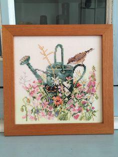 Framed Embroidery Marjolein Bastin Garden Birds Butterflies Watering Can Cross Stitch by NellysLittleGifts on Etsy