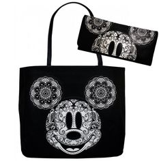 Disney Mickey Mouse Floral Paisley Mandala Tote Bag and Wallet Set by Loungefly