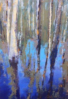 """""""Congaree Blue Water"""", oil, 6 x © Mary Bentz Gilkerson Abstract Landscape Painting, Abstract Canvas, Oil Painting On Canvas, Landscape Paintings, Art Paintings, Abstract Oil Paintings, Abstract Trees, Blue Painting, Indian Paintings"""