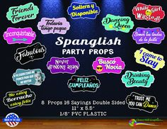 Spanglish Party Photo Booth Props - Mixed Spanish English by CloverMillGraphicsCA on Etsy Spanish English, Photo Booth Props, Grad Parties, Party Photos, Photo Sessions, Best Sellers, Starry Nights, Fans, Etsy