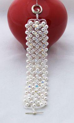 White Swarovski Crystal & Pearl Bracelet by brilliantbeadsbling, $215.00