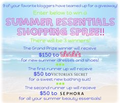 Giveaway!!! Summer Essentials Shopping Spree