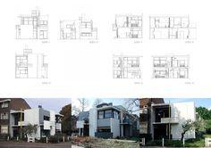 리트벨트의 슈뢰더주택입니다. 데스틸의 한 축이였던 리트벨트가 데스틸의 디자인론을 건축에 적용한 예이죠. 몬드리안의 그림을 떠올려 보시고, 그 2차원의 그림을 3차원으로 생각해 건축에 적용한 것이 이 주택입니다. 어떤 블로거님이 말씀하신데로 근대의 갈색과 회색들의 박공지붕 건물들 사이에 흰색과 회색에 간간히 원색이 들어가있는 집이 하나 있다고 생각해보면 당시에 상당히 파격적인 주거디자인이 아니었나 생각..